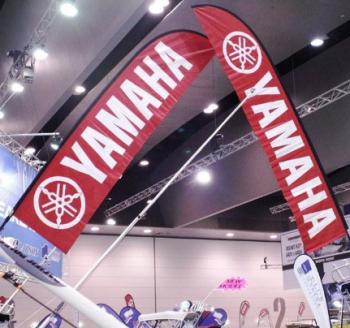 Promo Yamaha logo advertising swooper flags custom