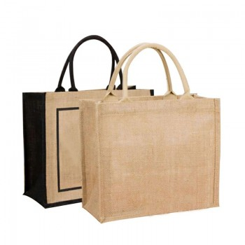 Custom Logo Natural Burlap Eco-Friendly Recycled Canvas Non-Woven Tote Bags Reusable Grocery Jute Shopping Bag